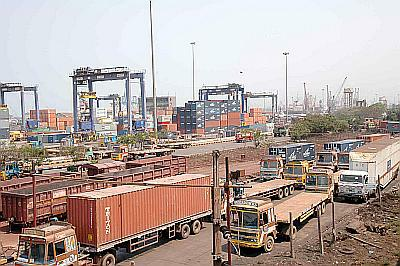 Container trucks at Ennore port