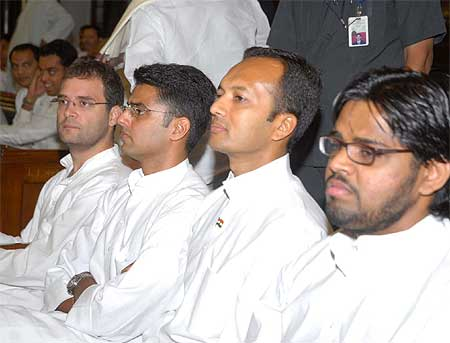 Rahul Gandhi with Sachin Pilot and Naveen Jindal at the CPP meeting at the Parliament House