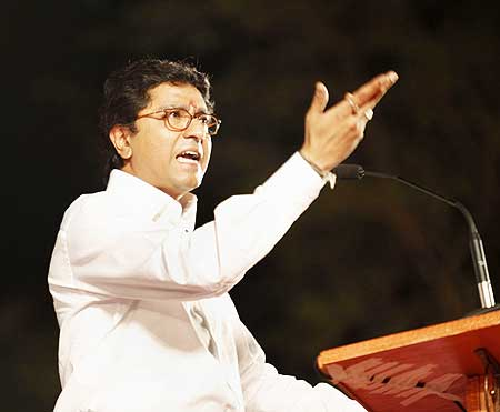 Raj Thackeray addresses a meeting in Thane