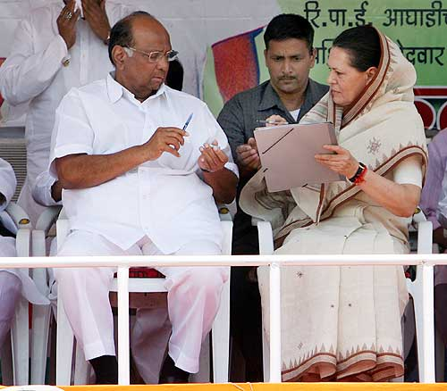 Nationalist Congress Party leader Sharad Pawar with Congress President Sonia Gandhi