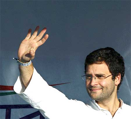 Rahul during a rally in Ahmedabad