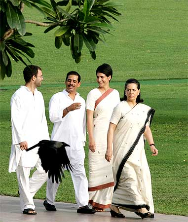 Congress president Sonia Gandhi with her children Rahul and Priyanka, and son-in-law Robert Vadra