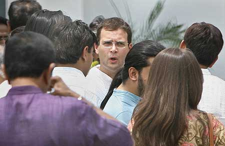Congress General Secretary Rahul Gandhi at a tea party in his party's war-room to celebrate victory