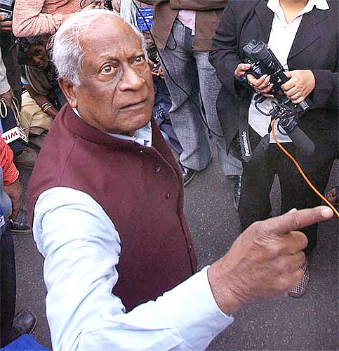 A B Bardhan at a crowded press conference.