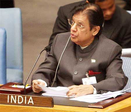 E Ahamed speaks at the United Nations