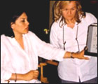 Mira Nair on the sets of Hysterical Blindness