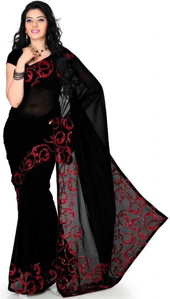 Faux Georgette Black Saree