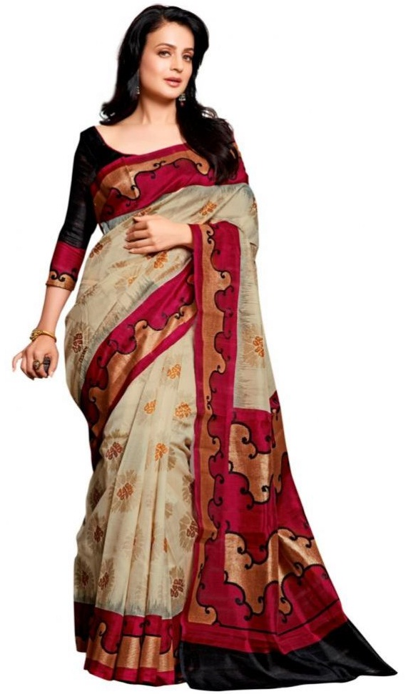 Fusion Black Cream Saree