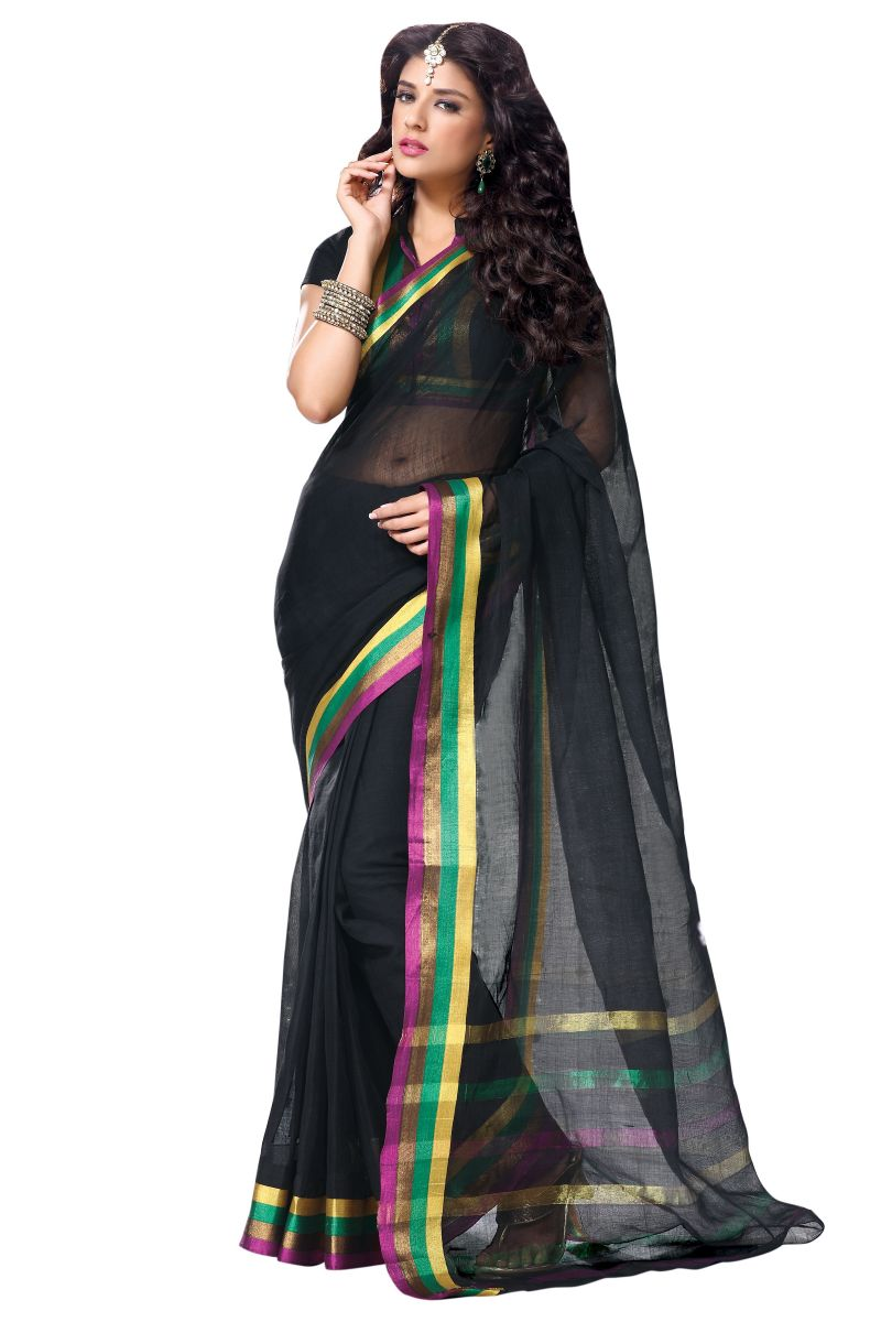 Black Color Cotton Sarees