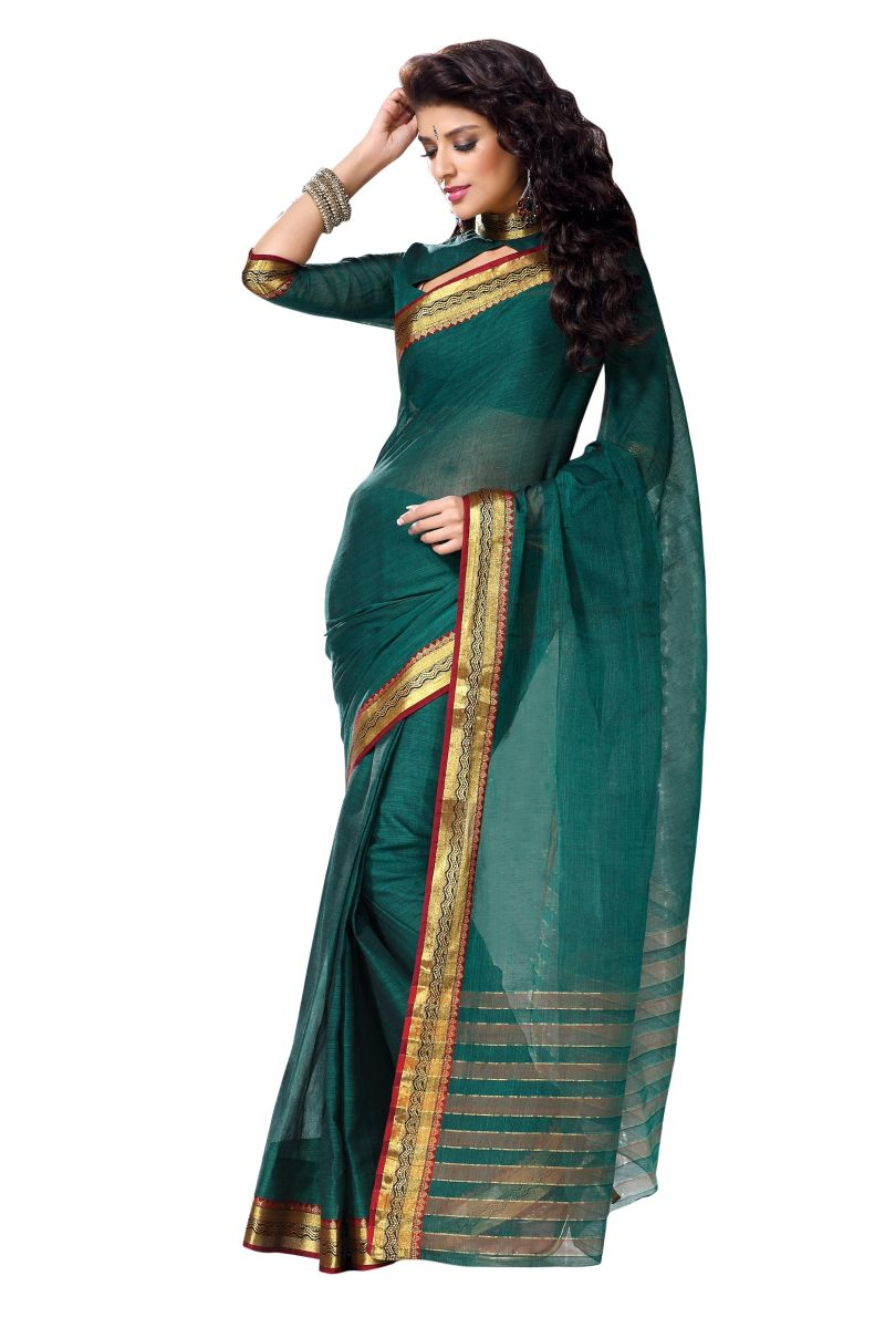 Green Cotton Sarees With Zari Border