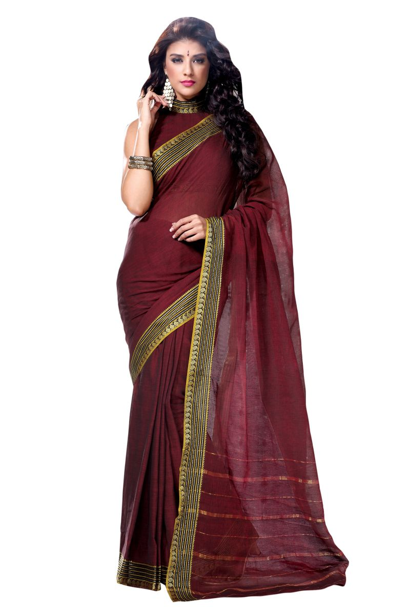 Brown Color Sarees With Zari Border