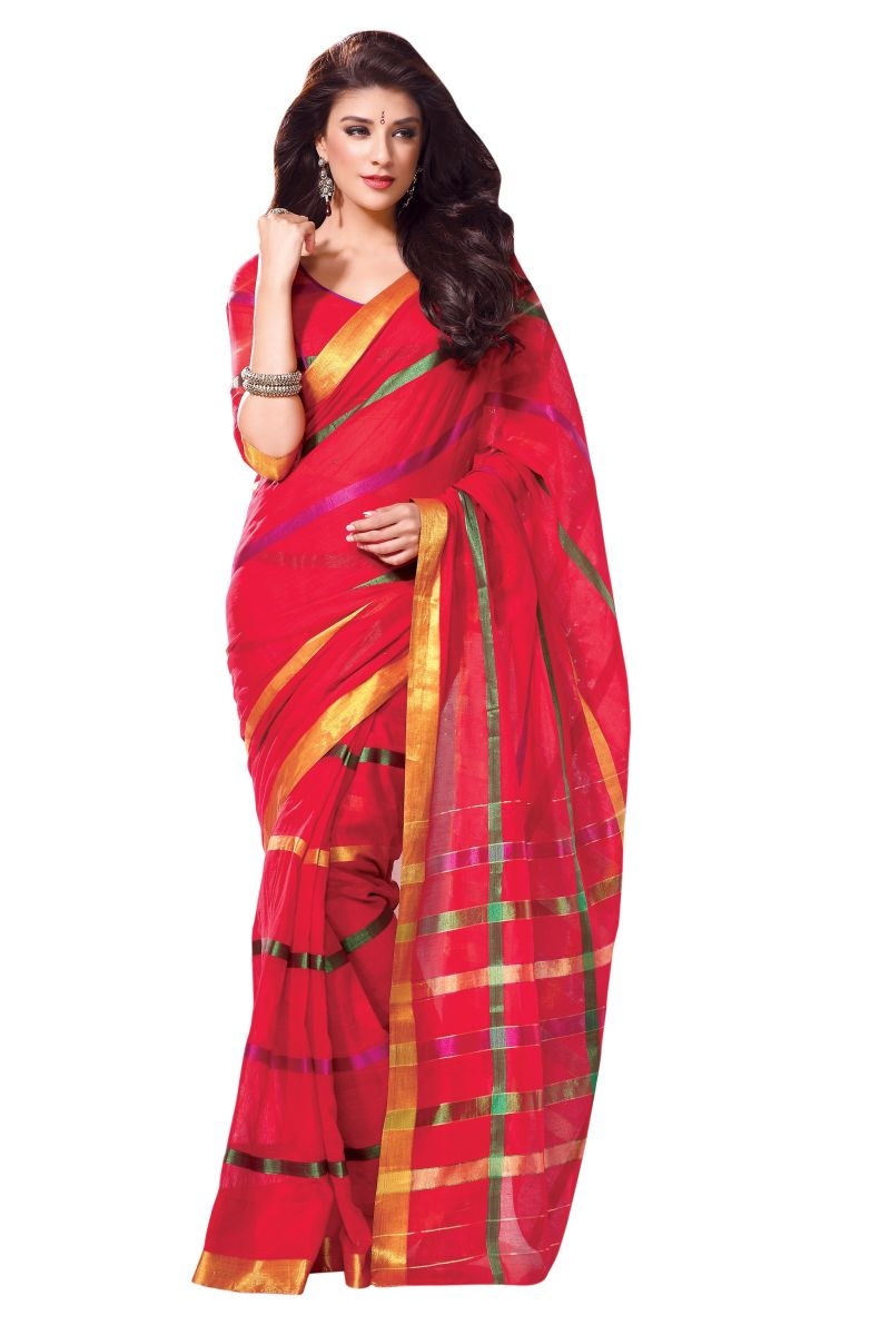 Cotton Saree With Pink Color  Zari Border