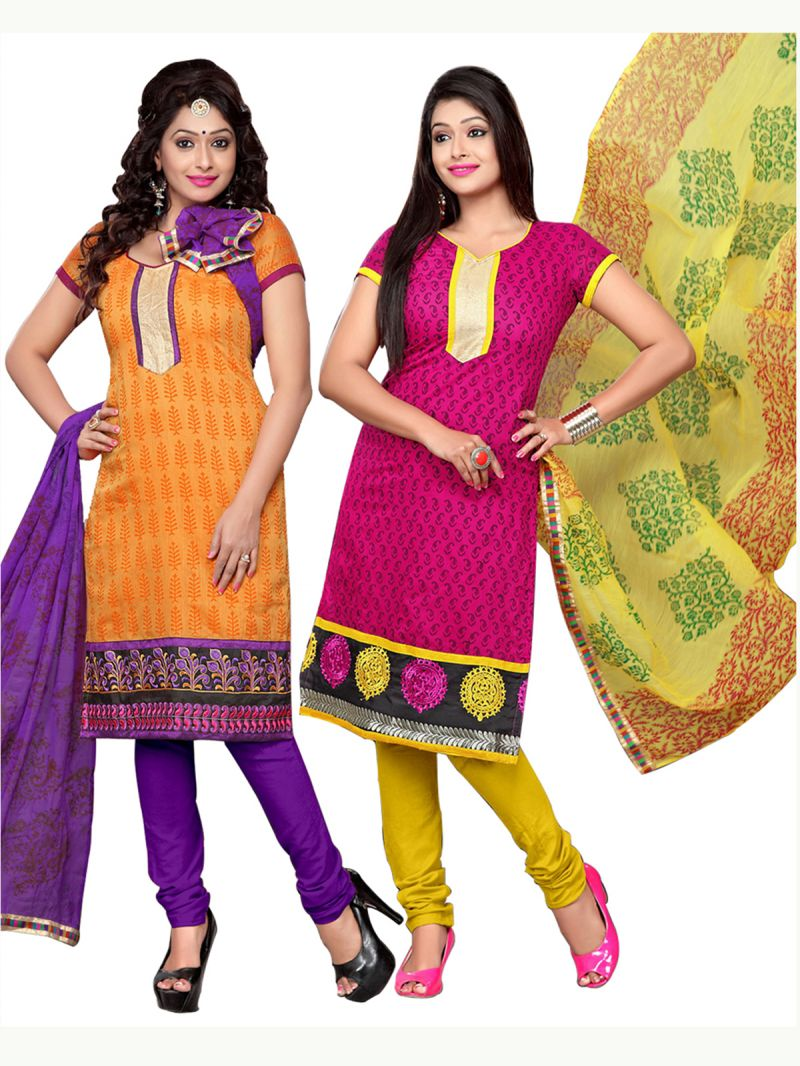 Surat Tex Orange & Pink Color Embroidered Chanderi Combo Dress Material