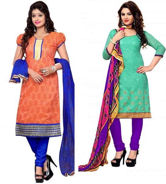 Surat Tex Orange & Blue Color Embroidered Chanderi Unstitched Dress Material