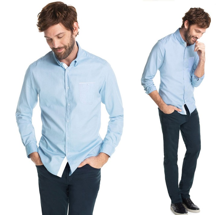 what to wear with sky blue shirt