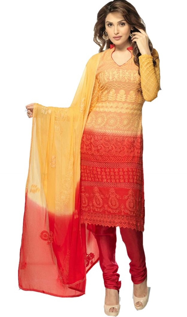 Vandv Online Pure Chiffon In Styles Light Orange And Red Dress Material