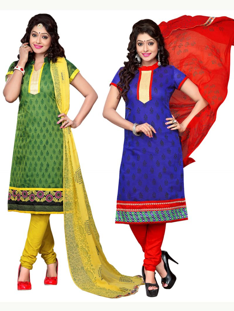 Surat Tex Green & Blue Color Embroidered Chanderi Combo Dress Material