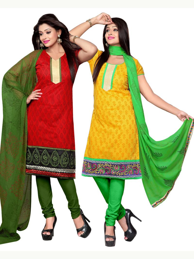 Surat Tex Red & Yellow Color Embroidered Chanderi Combo Dress Material