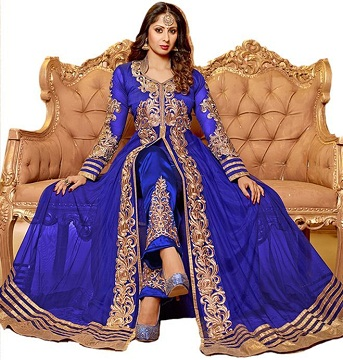 Blue Semi Stitched Anarkali Suit