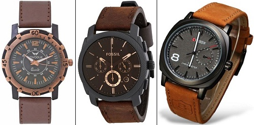 product mens watch stainless box timing brown leather date hand strap steel gift watches case