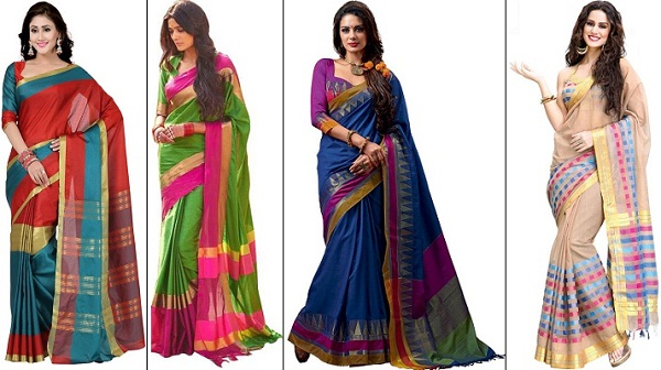 Blended cotton sarees