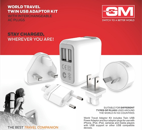 GM World Travel Twin USB Adaptor Kit