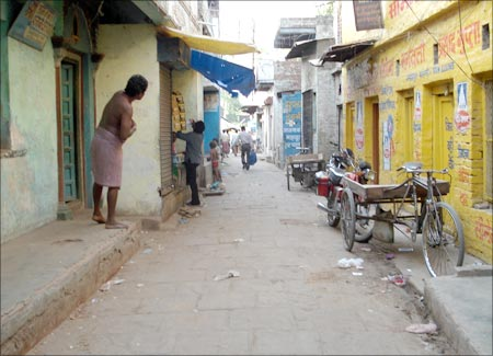 The narrow lane where Govind Jaiswal lives