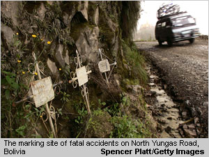 A van descends past a series of crosses marking the site of fatal accidents on the road connecting the city of La Paz to the Coroico in the North Yungas, Bolivia