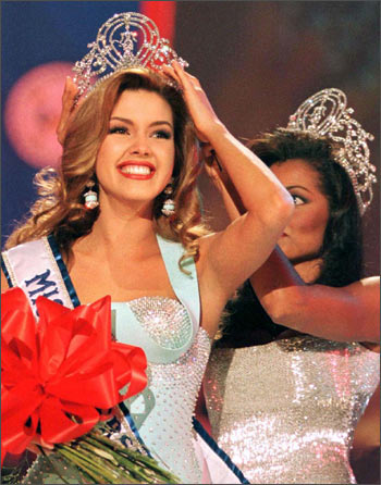 Miss Venezuela, Alicia Machado smiles after winning the 1996 Miss Universe crown. A graduate of the Miss Venezuela School, she was just 19 years old when she won