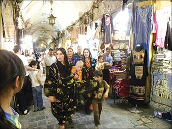 A pack of Doms or Syrian gypsies in Aleppo's souk