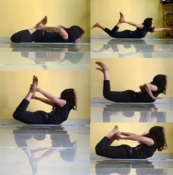 A collage of yogic bow poses