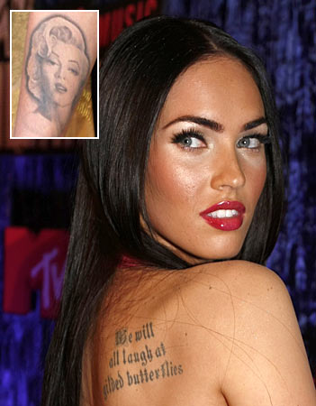 Sexy actress Megan 39s tattoo on her back is a quote We will all laugh at