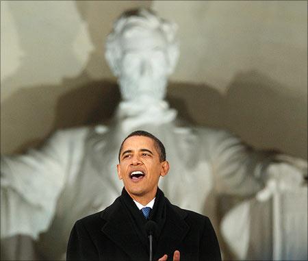 Barack Obama at Lincoln Memorial, Washington DC.