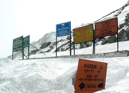 Khardung La top, the highest motorable pass in the world