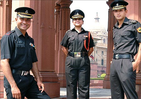 From left Major Anurag Aiery, Major Pooja Gupta, Lt. Gandharv Thakur look forward to life in the Army