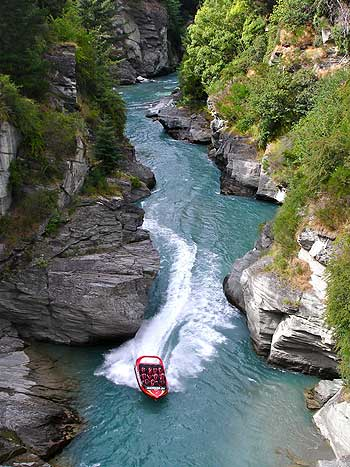 White water rafting on the Shotover River.