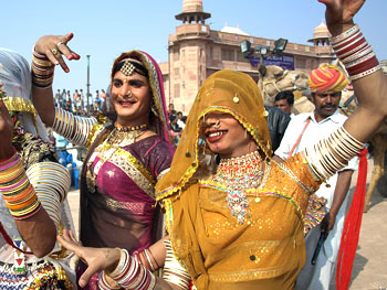 The eunuchs danced during the inaugural parade and on stage again.