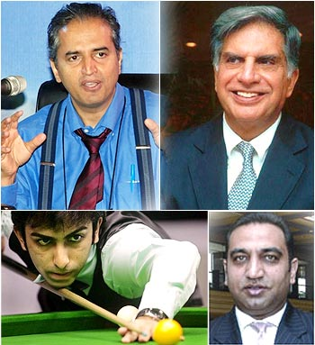 Clockwise from top left: Dr Devi Shetty, Ratan Tata, Parambir Singh Kang and Pankaj Advani