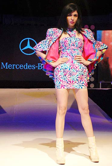 Kim wears Manish Arora at Merc fashion show