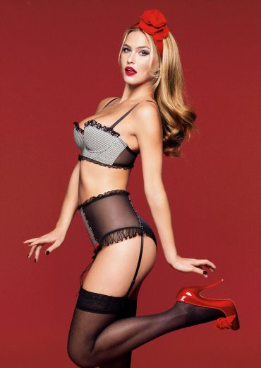 Leo's girlfriend models hot new lingerie line!