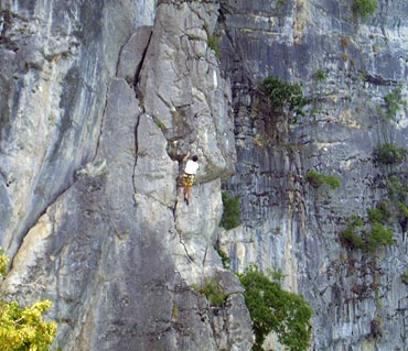 Rock climbing at Maya Bay