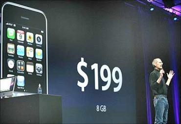 Jobs talks about the price of the new iPhone 3G at the Apple Worldwide Developers Conference.