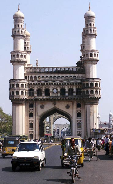 The Charminar built in 1591 is the most famous monument of Hyderabad.