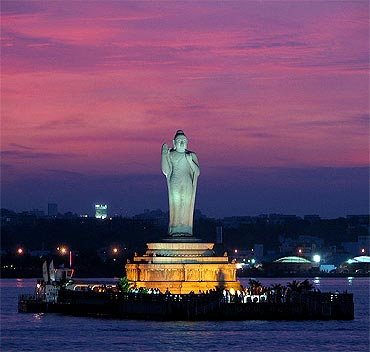 The Buddha statue at the Hussain Sagar Lake.