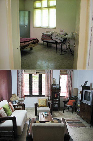 Ishaan's home in Taare Zameen Par. Before, top, and after Gupte's touch