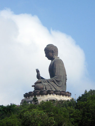 The Tian Tan Buddha statue located near the airport is a popular tourist attraction.