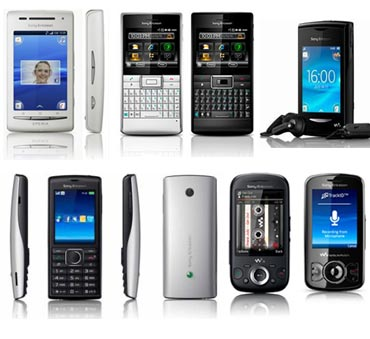 A collage of Sony ERicsson phones unveiled in India