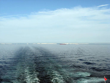 View of the white cliffs of Dover from the ferry as it steams away from the British Isles.