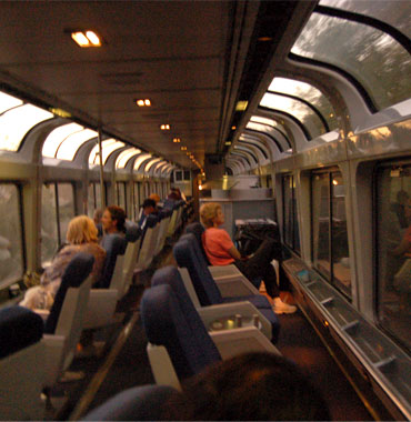 By train across America, in Amtrak's observation car.