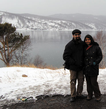 Anirvan Chatterjee and Barnali Ghosh at Lake Baikal, Siberia.